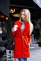 Модное женское пальто- тренч из качественного кашемира красного цвета