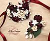"""""""Элегантный бордо"""",(1бутоньерка+1браслет) авторские свадебные украшения ручной работы"""