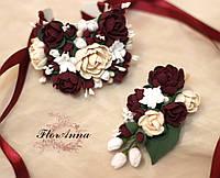 """""""Элегантный бордо"""",(1бутоньерка+1браслет) авторские свадебные украшения ручной работы, фото 1"""