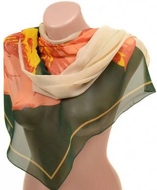 Удобный женский шарф 50 на 160 из легкого шифона 10112 W1