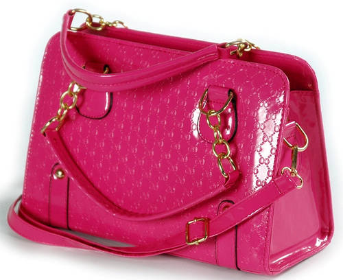 Яркая лакированная женская сумка с тиснением Traum 7225-12 розовый