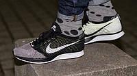 Кроссовки Nike Flyknit Racer Black/White(ТОП РЕПЛИКА ААА+)