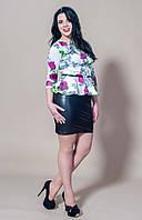 Модное цветочное платье с эко-кожей