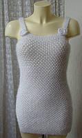 Туника женская вязаная жилет пушистая теплая необычная белая р.42-44 6120 от Chek-Anka, фото 1