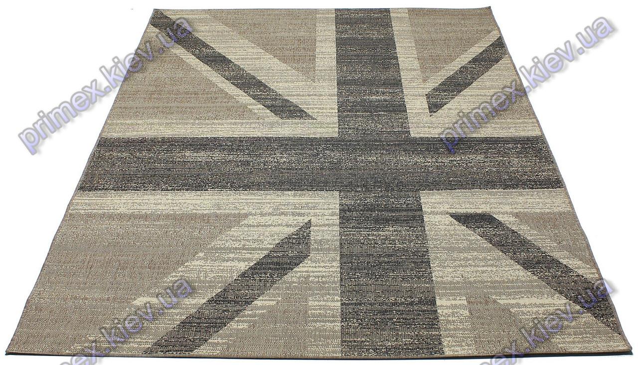 """Безворсовый ковер-рогожка """"Британский флаг"""", цвет - коричнево-черный"""