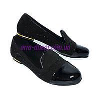 Женские туфли-балетки из натуральной замши и лаковой кожи, декорированы стразами., фото 1