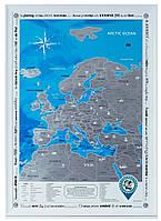 Скретч-карта Европы на английском языке в раме