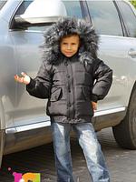 Куртка детская на мальчика, зимняя с натуральным мехом