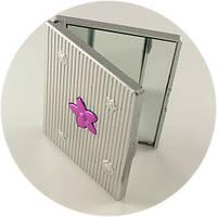 Карманное зеркальце серое с цветком, фото 1