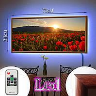 Лэд-картина 73х33см Маковый рассвет