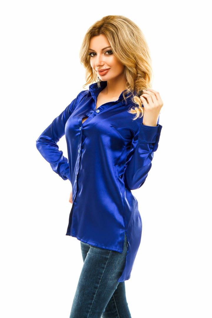 7ae03a60e77 Женская удлиненная атласная рубашка -