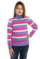 Детский теплый свитер гольф на девочку