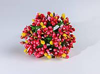 Тычинки Малиново-желтые с листиками 24 шт/уп на проволоке
