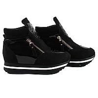 Стильные женские ботинки Gelsomino (удобные, демисезонные, черные, на платформе, замша+лак, есть замок)