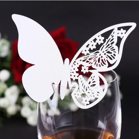 """Картки для гостей, весільні прикраси, прикраси келихів """"метелики білі"""" 10шт набір"""" 11*7см"""
