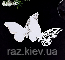 """Картки для гостей, весільні прикраси, прикраси келихів """"метелики білі"""" 10шт набір"""" 11*7см, фото 3"""