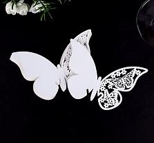 """Карточки для гостей, свадебные украшения, украшения бокалов """"бабочки белые"""" 10шт набор"""" 11*7см, фото 3"""