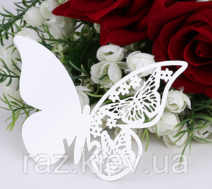 """Карточки для гостей, свадебные украшения, украшения бокалов """"бабочки белые"""" 10шт набор"""" 11*7см, фото 2"""
