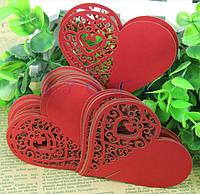 """Карточки для гостей, свадебные украшения, украшения бокалов """"Сердце красное"""" 10шт набор"""" 8*8см"""