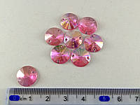 Стразы  пластик круглые конус фольгированным низом  12мм  розовый упаковка 30  шт