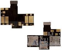 Шлейф для HTC Desire 200 Dual Sim c коннектором SIM-карты и карты памяти Original