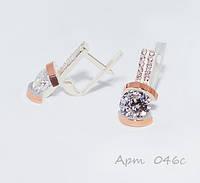 Сережки жіночі срібні із золотими накладками / Серьги женские серебряные с золотыми вставками