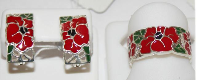 Комплект серебряный с цветной эмалью Красный Мак