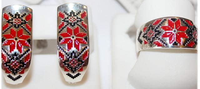 Комплект серебряный с цветной эмалью Вышиванка