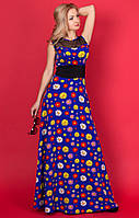 Женское летнее платье-макси синего цвета с принтом ромашки 42, Синий