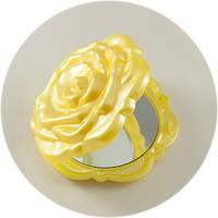 Зеркало карманное в форме розы, желтое, пластик., фото 1