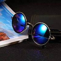 Винтажные солнцезащитные очки круглые illesteva, синий и зеленый цвета, фото 1