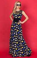 Женское летнее платье-макси темно-синего цвета с принтом ромашки 50, Темно-синий