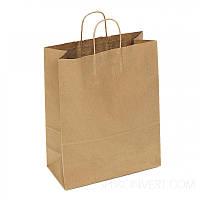 Пакет бумажный с крученными ручками 380х320х150 (коричн. крафт, 70гр./м2)