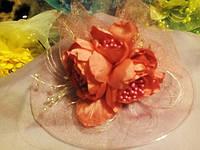 Детская нарядная вуальетка, шляпка персиковый, продажа