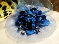 Детская нарядная вуальетка, шляпка синий, продажа