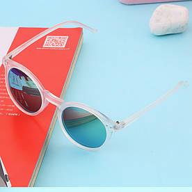 Стильные очки ретро, панк стиль, зеленый цвет белая оправа