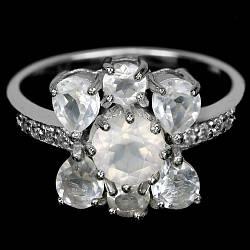 Серебряное кольцо с натуральными Кварцами и Cz