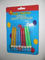"""Набор свечей для торта, цветных (8 штук) с надписью """"Happy Birthday""""."""