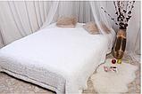 Длинноворсовый меховой плед белый размер 160*220, фото 3