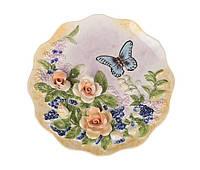 Декоративная тарелка Бабочка в мальвах 20 см 59-561