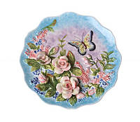 Декоративная тарелка Бабочка в розах 20 см 59-562