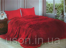 Длинный ворс  меховой плед красный размер 160*220