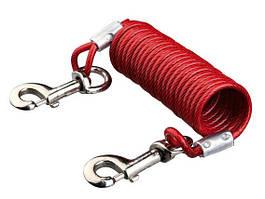 Trixie TX-22945 пластиковый трос - спираль привязочный с карабинами 5 м для собак до 50 кг