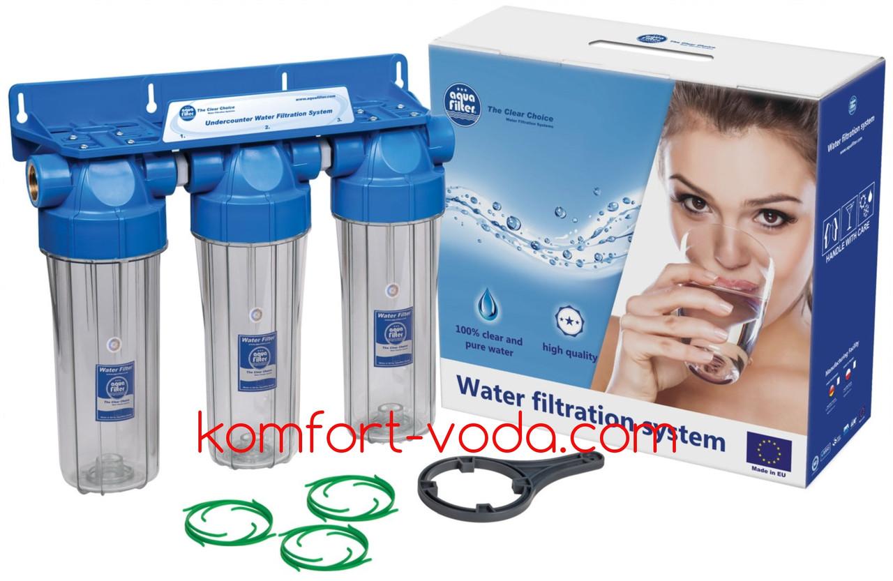 Система корпусов фильтров Aquafilter FHPRCL12-B-TRIPLE (лат.резьбы)