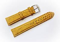 Ремінець шкіряний Bros Cvcrro a Mano для наручних годинників з класичною застібкою, жовтий, 20 мм