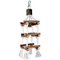 Trixie TX-5887  лесенка для птиц с колокольчиком (дерево) 51cм
