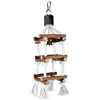Trixie TX-5886  лесенка для птиц с колокольчиком (дерево) 34 cм