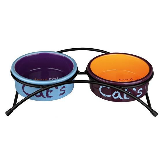 Trixie TX-24791 Стояк с двумя мисками для кошек 0,3л