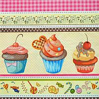 """Салфетка для декупажа""""Кексы, десерт"""", размер 33*33 см, трехслойная"""