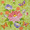 """Салфетка для декупажа """"Цветы, бабочки"""", размер 33*33 см, трехслойная"""